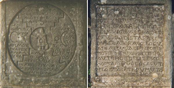 Inscriptions gravées par C.G. Jung sur la pierre de la Tour de Bollingen